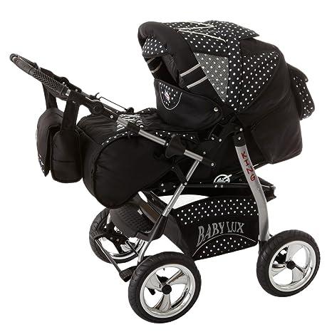 Lux4kids Trío Cochecito 3 in 1 Silla de paseo ruedas fijas + capazo + silla para ...