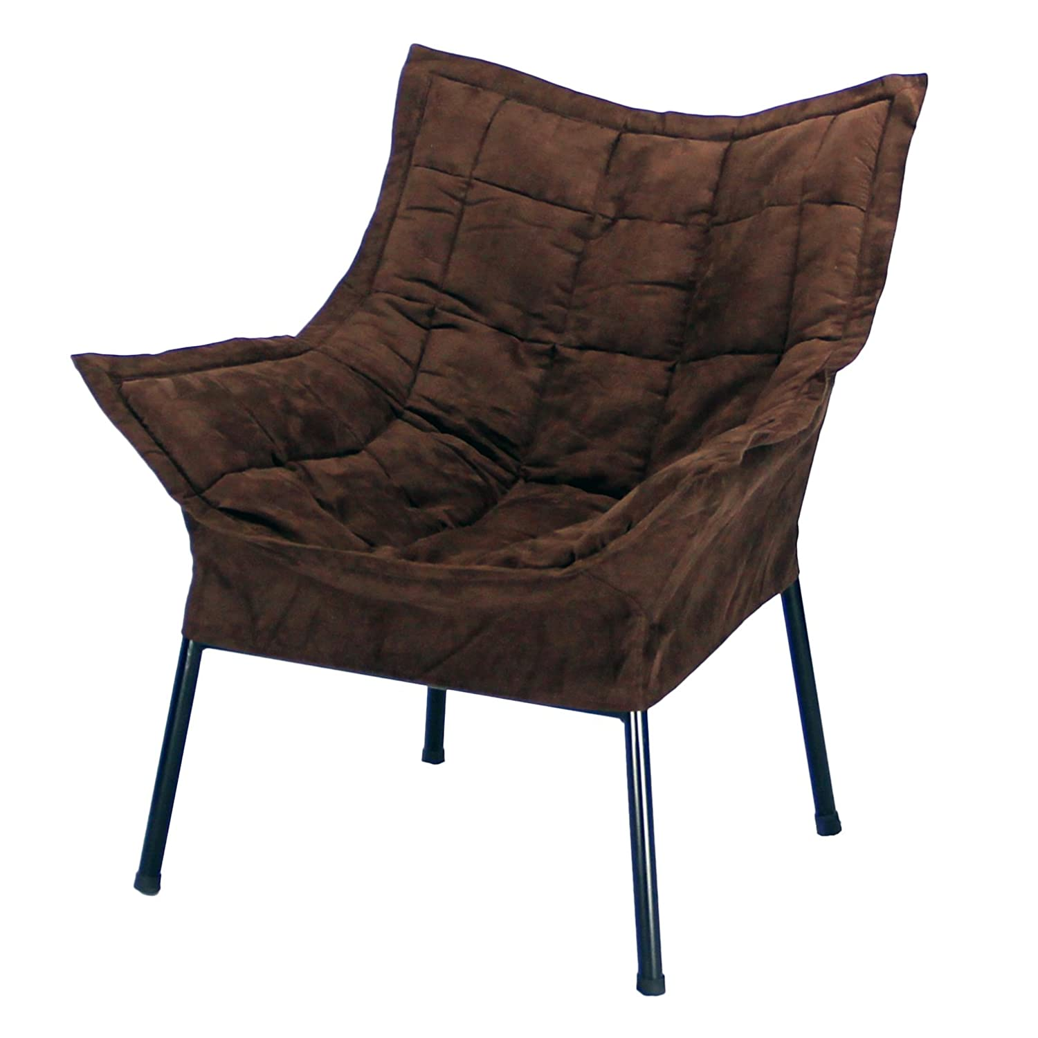 amazoncom casual home milano chair with black metal frame and microsuede outer cover brown kitchen u0026 dining