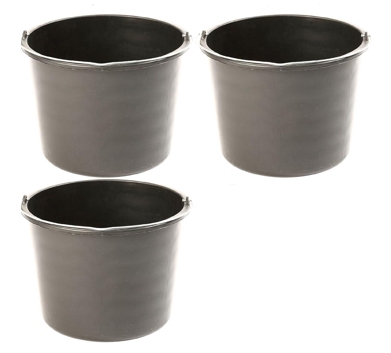 3x Uniqat Mö rteleimer 12 Liter Schwarz mit Skala