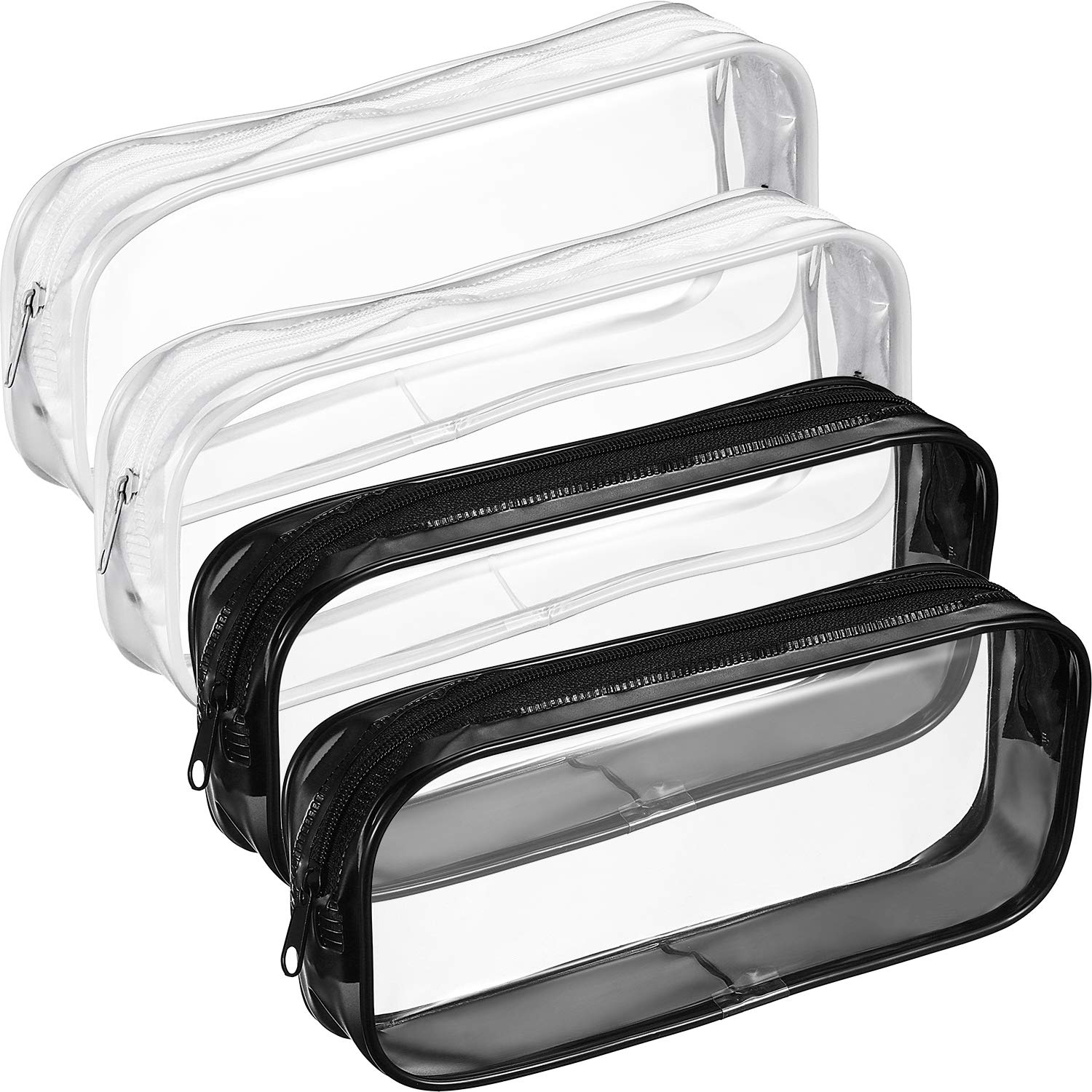 4 Pieces Clear PVC Zipper Pen Pencil Case, Big Capacity Pencil Bag Makeup Pouch Students Stationery, Black and White Tatuo