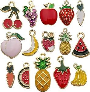60pcs Assorted Enamel Plated Gold Fruit Banana Grape Apple Charm for Jewellery Making Necklace Bracelet Ankle Earring DIY Findings HM212
