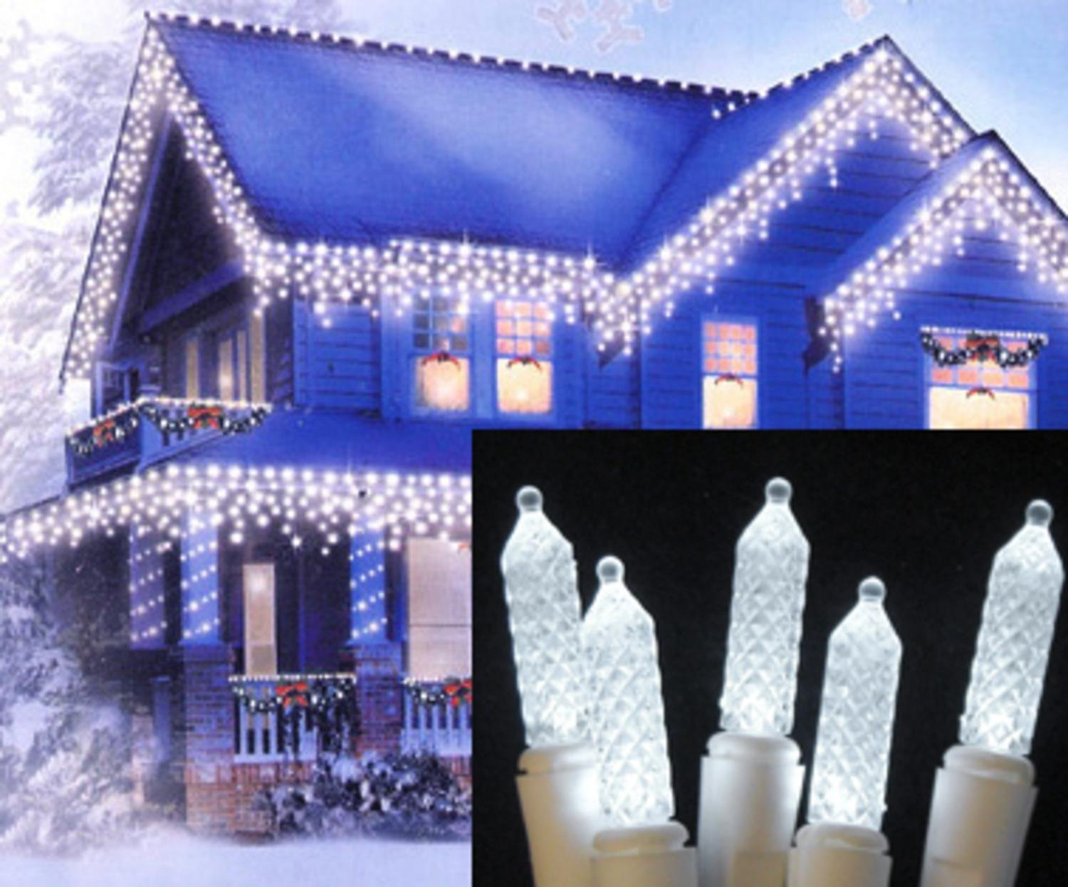 amazoncom northlight pure white led m5 twinkle icicle christmas lights with white wire set of 70 home kitchen