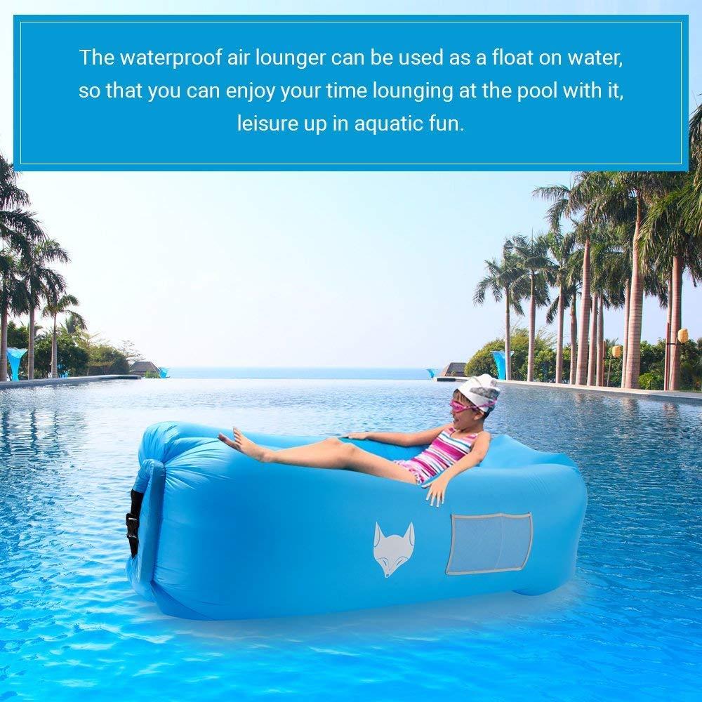 Sofá hinchable tipo tumbona de IceFox, impermeable, con bolsa de transporte, para dormir al aire libre, en interiores, para relajarte, ideal como puf ...