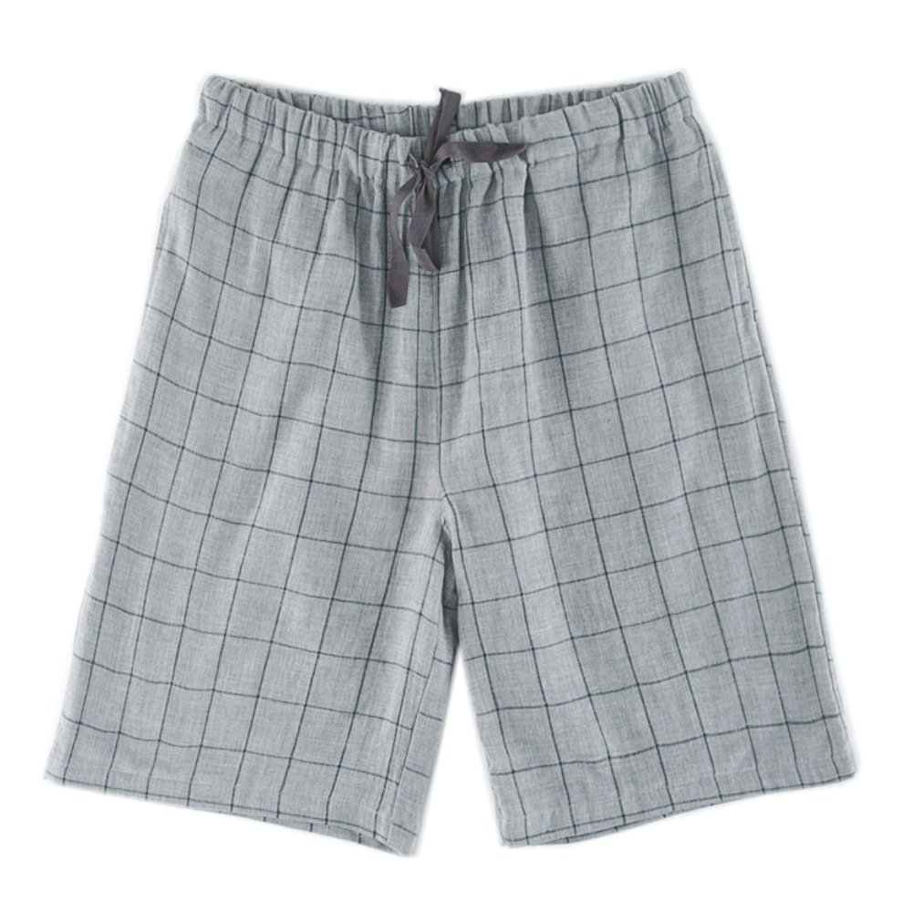 VeaRin Mens Pajama Shorts Pants Cotton with Pockets (Grey, Large:Waist:32-35 inch)