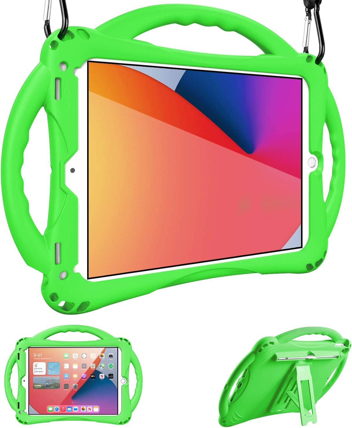 Adocham Kids case for iPad 8th & 7th Gen 10.2 (2020) iPad Air 3rd Gen 10.5 (2019)/ iPad Pro 10.5(2017), Premium Food-Grade Silicone Lightweight Shock Proof Handle Stand Kids Friendly Cover (Green)