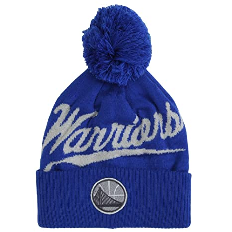 e3bda293 Mitchell & Ness NBA Greyton Script Cuffed Pom Beanie Knit Hat - Golden  State Warriors