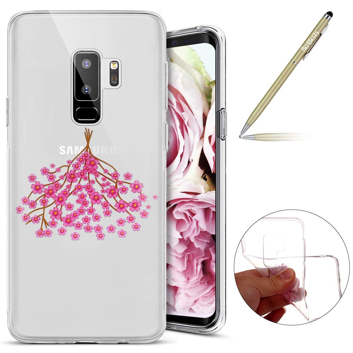 Für Samsung Galaxy S9 Plus Hülle, Durchsichtige Schutzhülle für Samsung Galaxy S9 Plus, Samsung Galaxy S9 Plus Silikon Hülle Blumen, Herbests Schönes Bunte Kirschblüten Rosa Blumen Floral Handyhülle Ultra Slim Crystal Clear Silikonhülle Schutzhülle TPU Kir