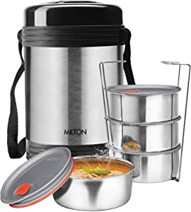 Milton Legend 4 Lunch Box Tiffin insulated stainless steel, Silver