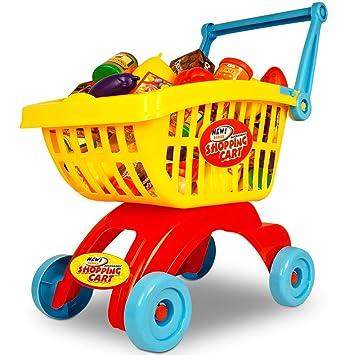 0ed311c3a41a Deuba Childrens Shopping Cart Trolley Basket for Toy Shop Kitchen Pretend Play  Set 32pcs