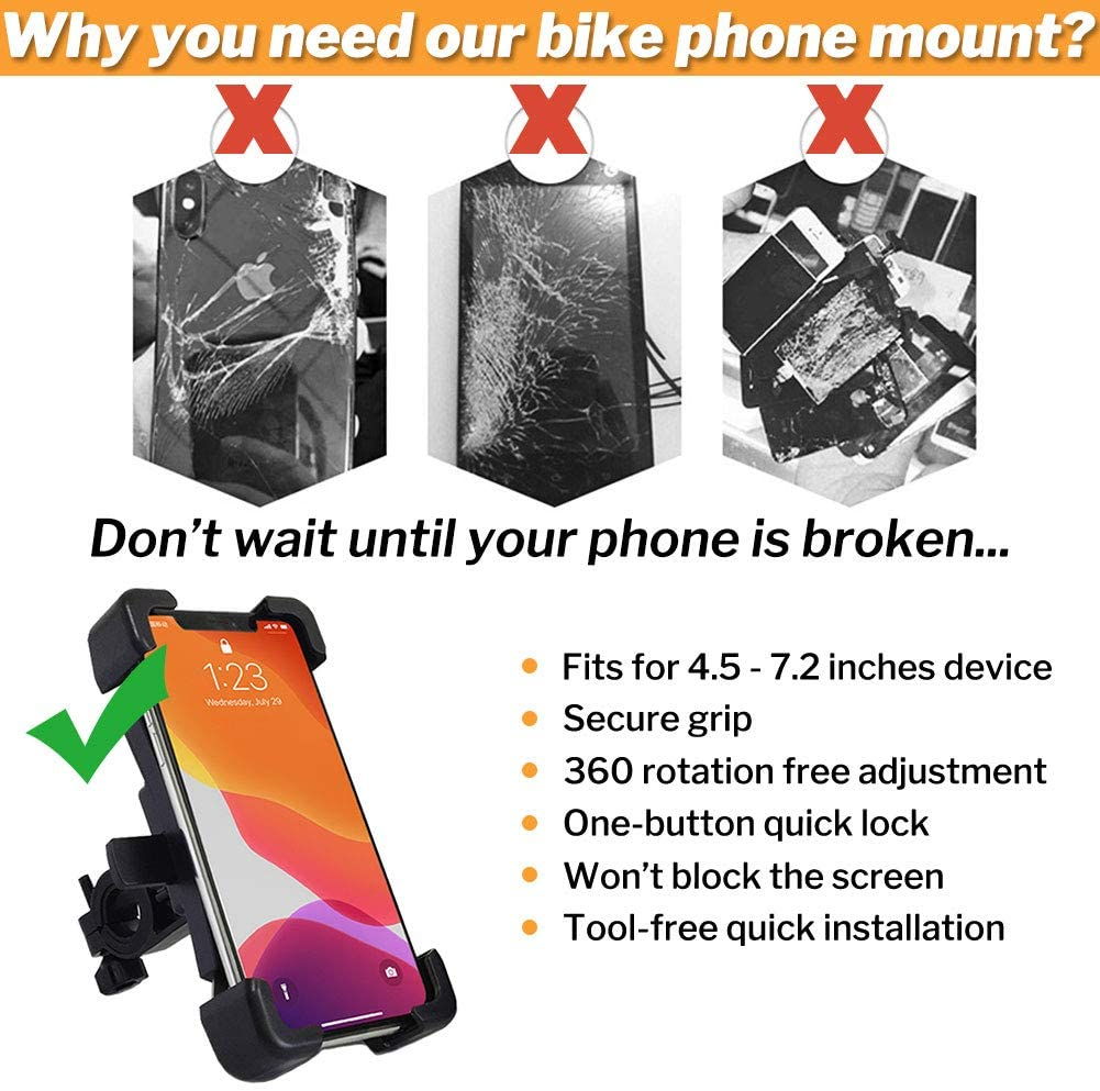 for iPhone 11 Pro Max X XR Xs 7s 8 Plus 360 Rotation Bike Phone Mount Universal Motorcycle Handlebar Mount Bicycle Phone Holder Samsung S20 S7//S6//Note10//9//8//4 GPS 4.5 to 7.2 Devices