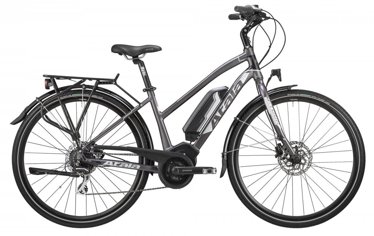 Bicicleta eléctrica de senderismo e-tkk con pedalada assistita Atala b-tour, para mujer, tamaño XS, 40 cm (150 - 160 cm), 8 velocidades, color gris - negro ...