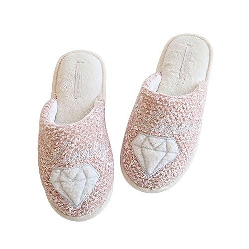 Sasairy Zapatillas de Estar por Casa Algodón Zapatos Felpa Calentar Anti-Slip Mujer para Otoño y Invierno: Amazon.es: Zapatos y complementos