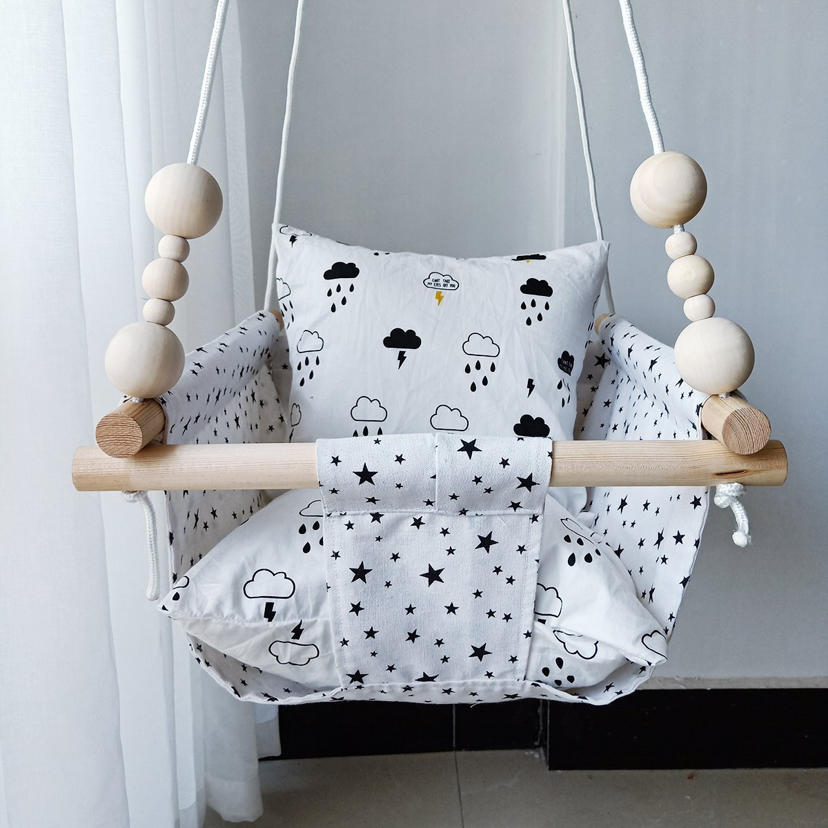 Hb Ye Handmade Safety Canvas Baby Swing Chair Portable Hanging Seat
