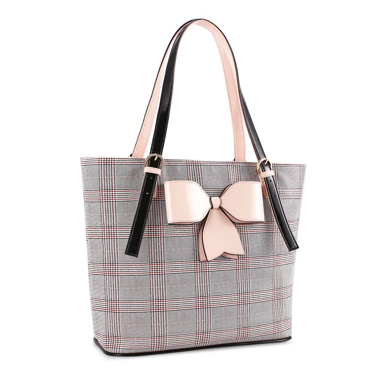 Lvtree Tote Bag Women PU Leather Fashion Shoulder Grid Handbag, Large Capacity Satchel Hobo Top Handle Purse with Pink Bowknot