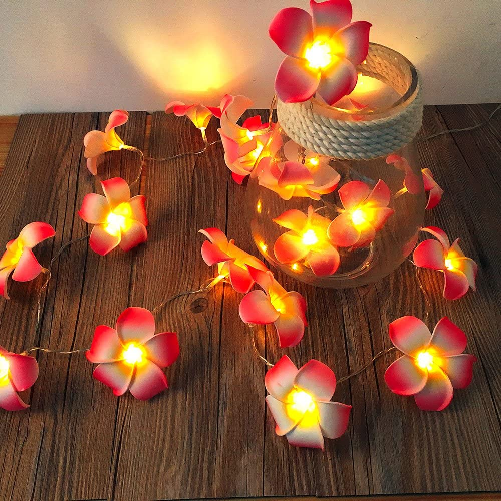 AceList Frangipani 20 LED String Light Hawaiian Foam Artificial Plumeria Pink Flower Battery Powered Fairy Starry Lights for Wedding Beach Party