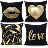 Monkeysell Pack of 4 Black and Gold Throw Pillow Lips Bronzing Flannelette Home Pillowcases Throw Pillow Cover Love…