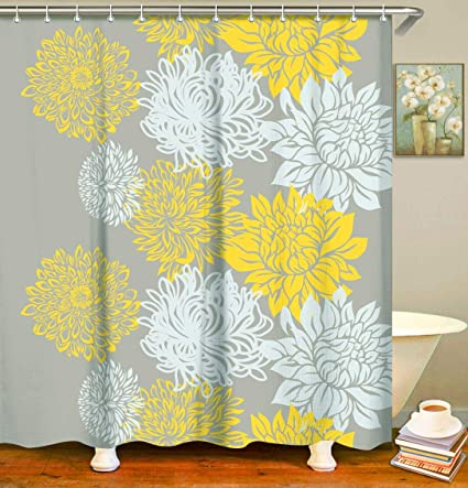 LIVILAN Yellow White Flower Shower Curtain Set With 12 Hooks Bathroom Decorative Curtains Mildew Resistant Waterproof