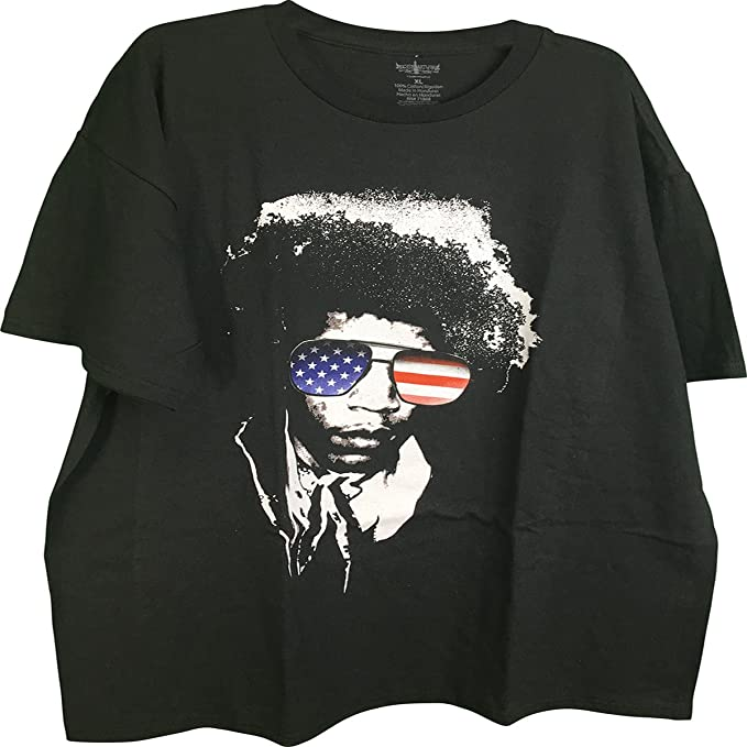 b24f70675460 Amazon.com  Jimi Hendrix Patriotic Flag Sunglasses Graphic Adult T ...