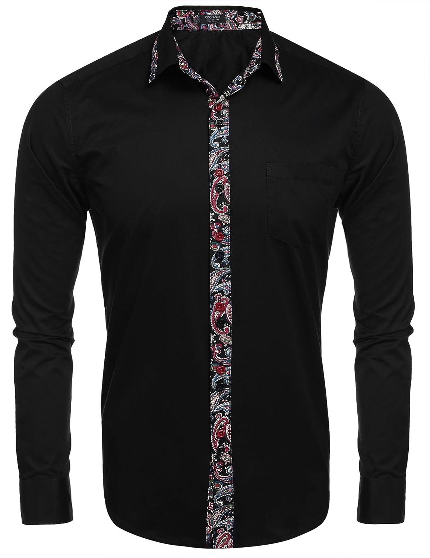JINIDU Mens Slim Fit Dress Shirt Casual Button Down Shirts