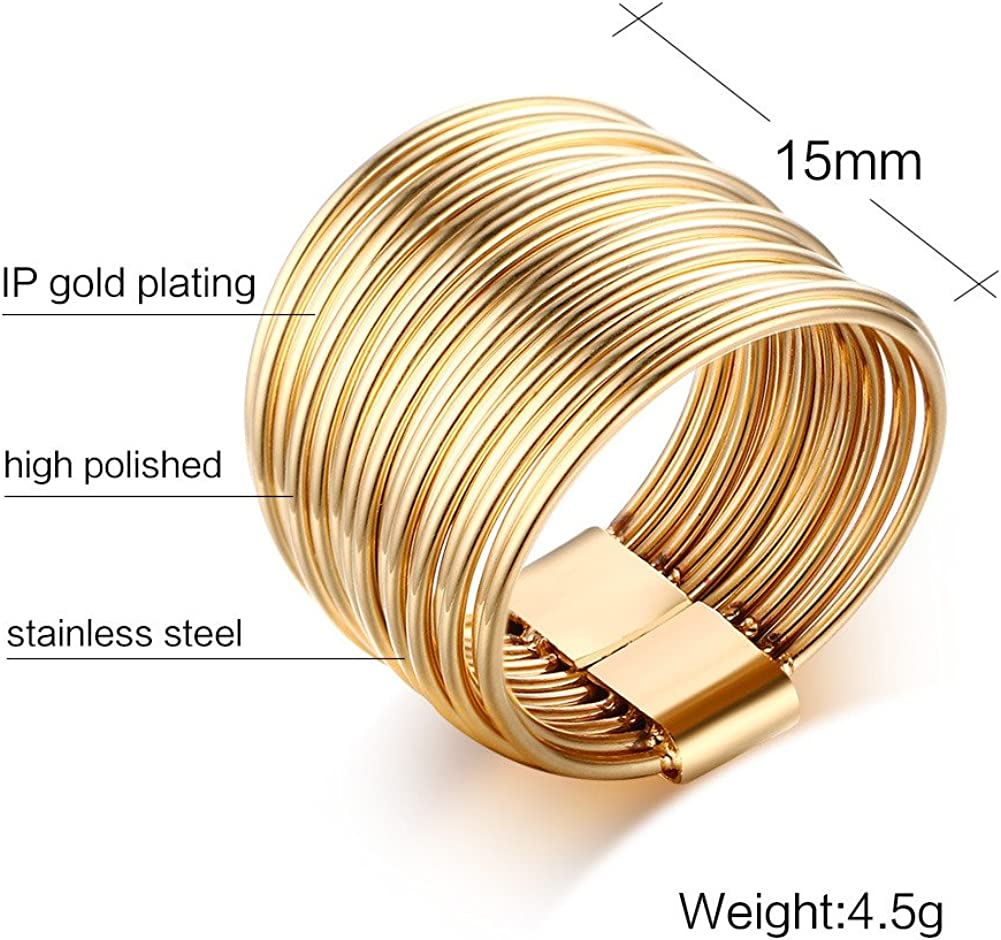 MEALGUET Stainless Steel Gold Plated Rectangle Large Glass Womens Fashion Cocktail Ring Size 8 White