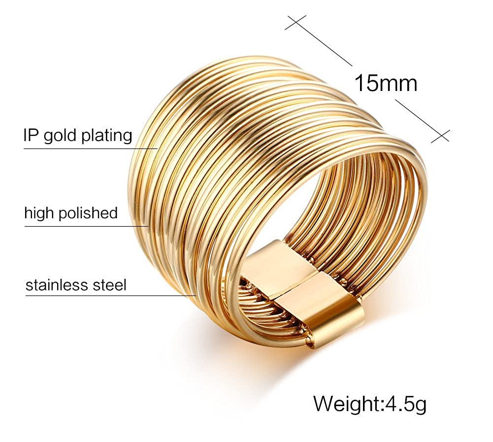 Wide Statement Rings MEALGUET Gold Plated Stainless Steel 10 Multi Plain Bands Interlocked Stacked Ring for Women