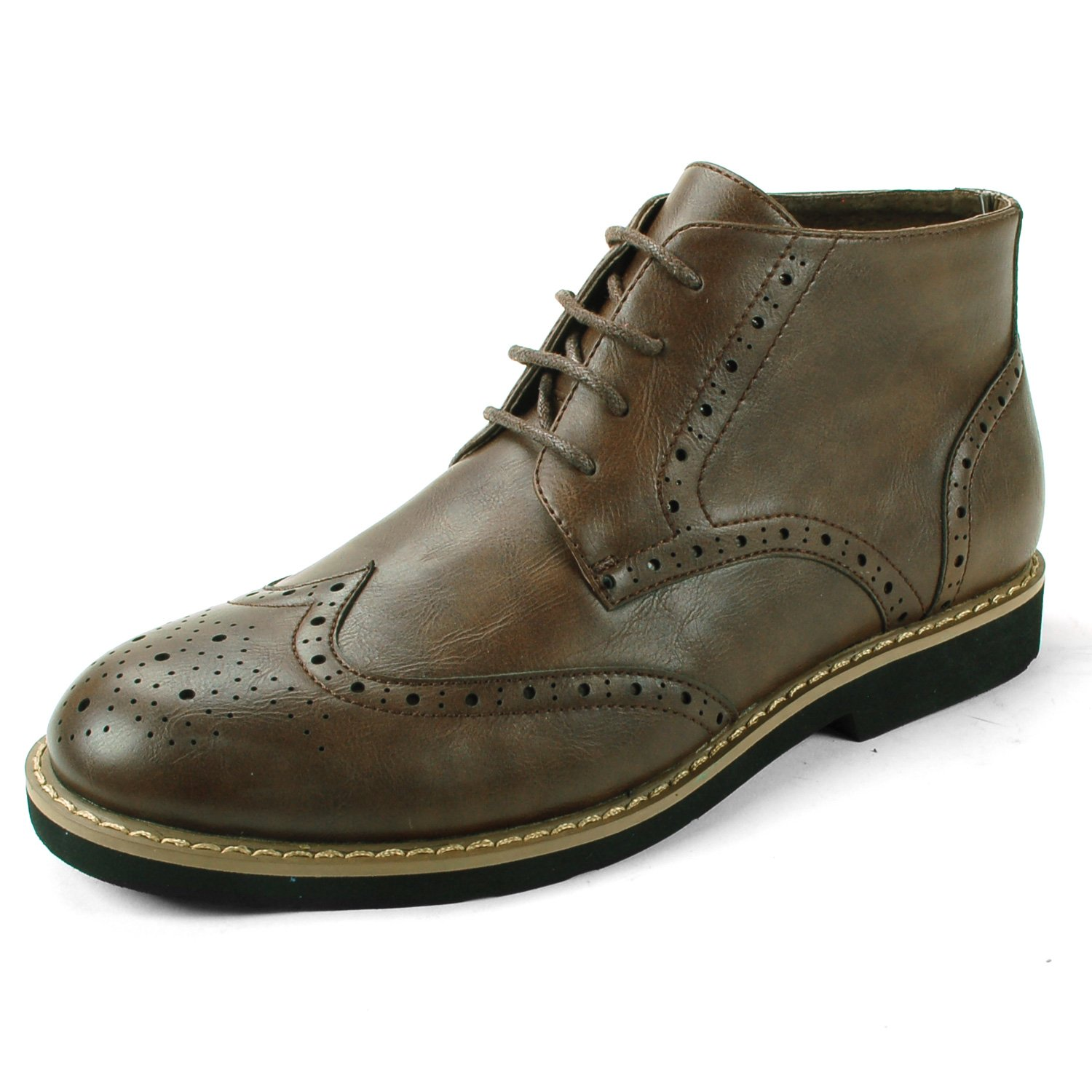 Alpine Swiss Men's Geneva Ankle Boots Brogue Medallion Wing Tips