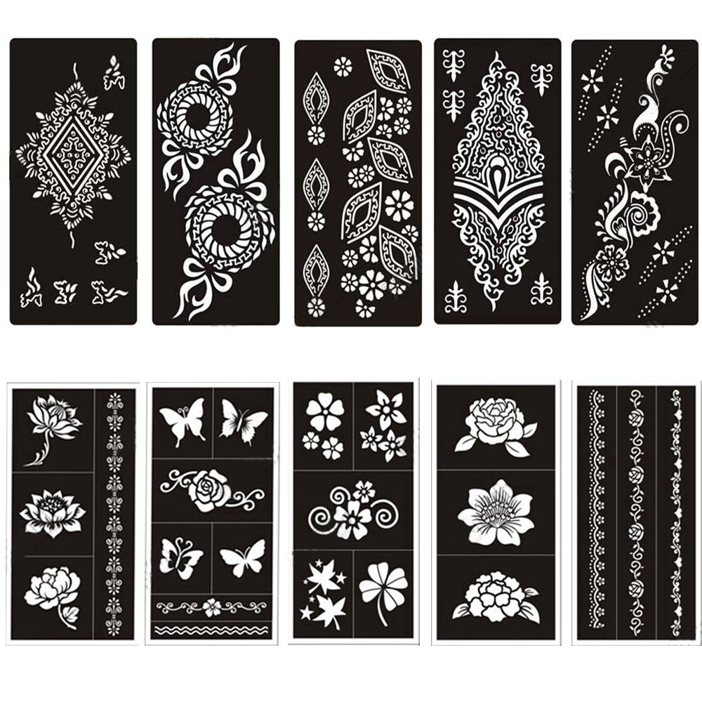 Temporary Tattoo Stencils Templates Stickers Waterproof Adhesive Body Art Painting for Temporary Indian Henna Tattoo Cone(10 Sheets) by MANGOIT