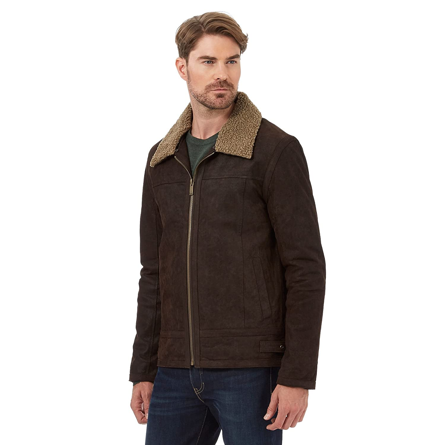 Barneys Mens Dark Brown Borg Collar Leather Jacket