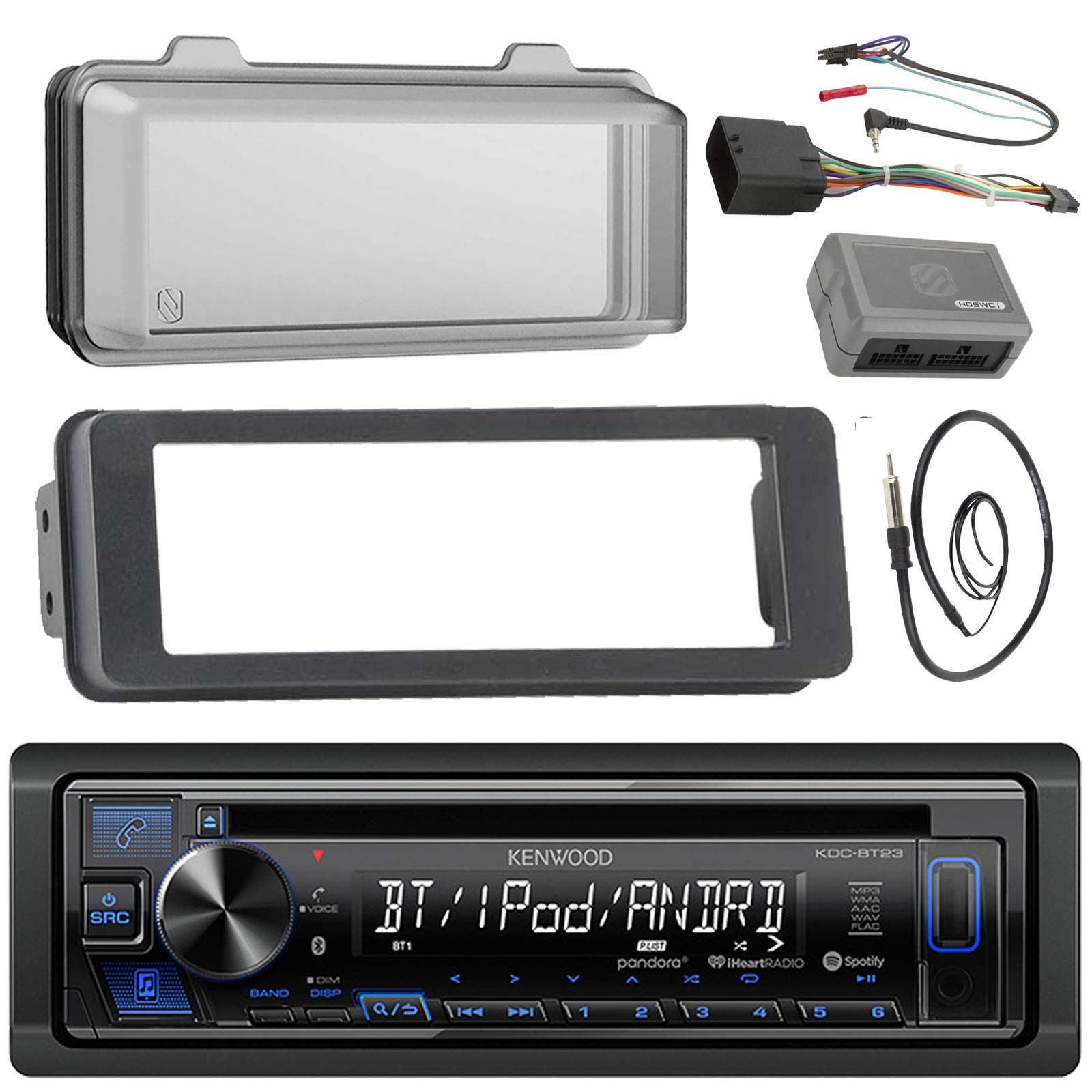 Kenwood KDCBT23 Stereo CD Receiver Radio - Bundle with Installation Dash Kit + Handle Bar Control Module + Weathershield Cover + Enrock Wire Antenna for 1998 2013 Harley Touring Motorcycle Bikes
