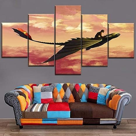mmwin 5 Piezas HD Print Painting Cómo Entrenar a tu dragón ...