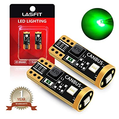 LASFIT 194 168 T10 2825 W5W LED Bulb Canbus Error Free, Non-Polarity 400LM 6000K Extremely Bright Green Color: Automotive
