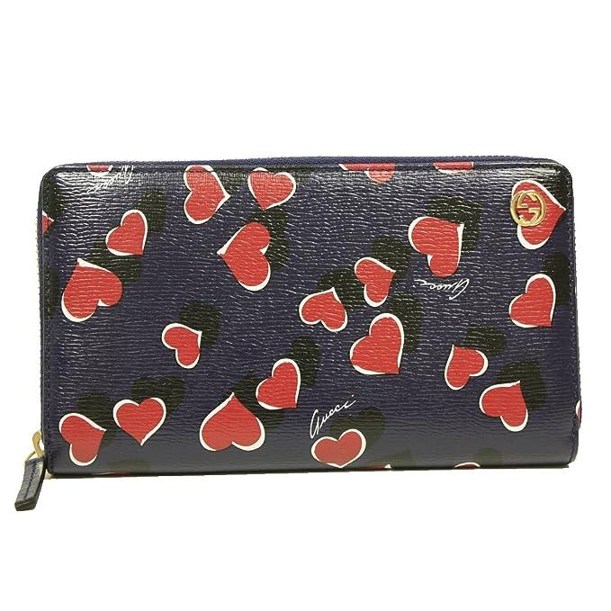 Gucci latido del corazón de enclavamiento GG logo azul marino piel con cremallera alrededor de tipo cartera 309705: Amazon.es: Ropa y accesorios