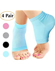 Lveal 4 Pairs Soft Moisturizing Gel Heel Socks, Ventilate Open Toe Socks Spa Gel Socks Breathable Recovery Cotton Socks for Dry Hard Cracked Skin Moisturizing Day Night Care Skin (Pink, Blue, Grey, Black)