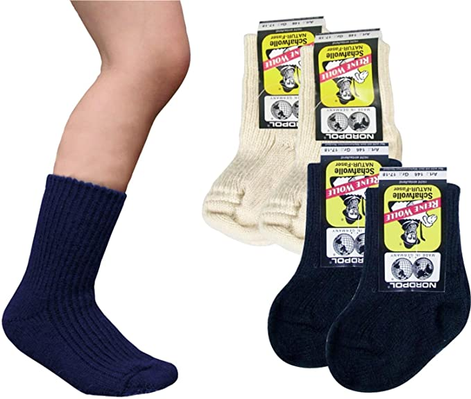 4 pares de calcetines de lana de oveja niños Polo 100% pura lana virgen