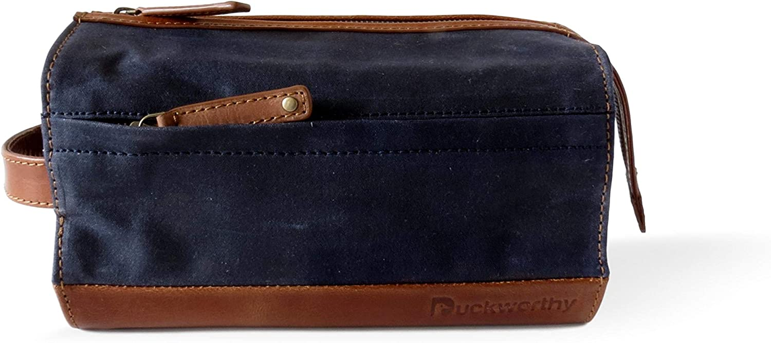 Duckworthy Waterproof Dopp Kit Handcrafted Waxed Duck Canvas and Full Grain Leather Large Travel Toiletry Bag Shaving Kit Organizer with Full View of Interior Contents Navy Blue