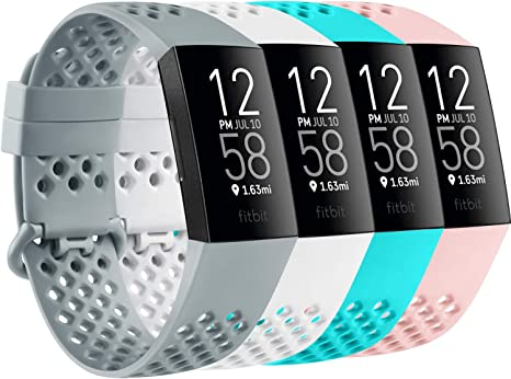 Image of AK Pack 4 compatible con Fitbit Charge 3 Strap/Fitbit Charge 4 correas, respirable agujero de aire de silicona reemplazo deportivo pulsera para Fitbit Charge 3 Charge 4
