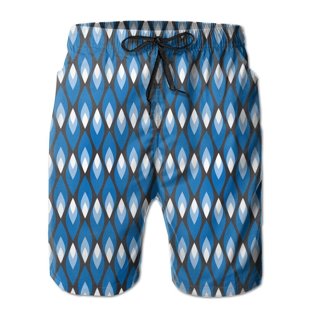 BLACK-OD Man Summer Small Blue Flames Quick Dry Volleyball Beach Shorts Board Shorts