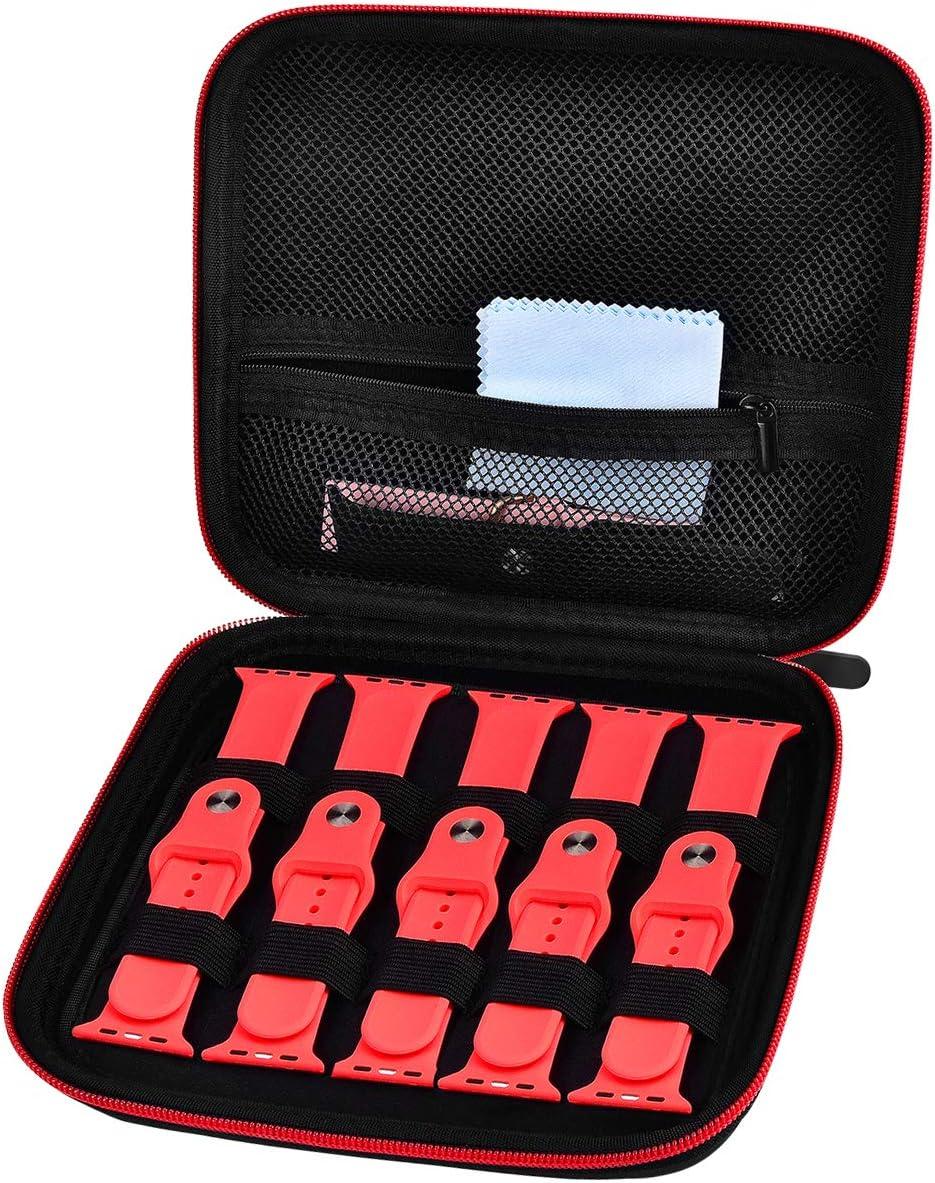 Watch Band Storage Organizer Case - Smart Watch Bands Strap Holder Bag Compatible with Apple Watch/Fitbit Smart Watch Wrist -Black