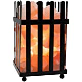 WBM Himalayan Glow Natural Air Purifying Himalayan Picket Fence  Style Basket salt lamp with Salt Chunks, Bulb and Dimmer control