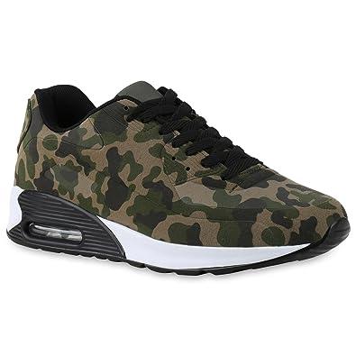 1f90e56eb9 Stiefelparadies Trendige Unisex Damen Herren Kinder Sport Camouflage Blumen  Sneaker Low Bunt Schnürer Schuhe 137359 Camouflage