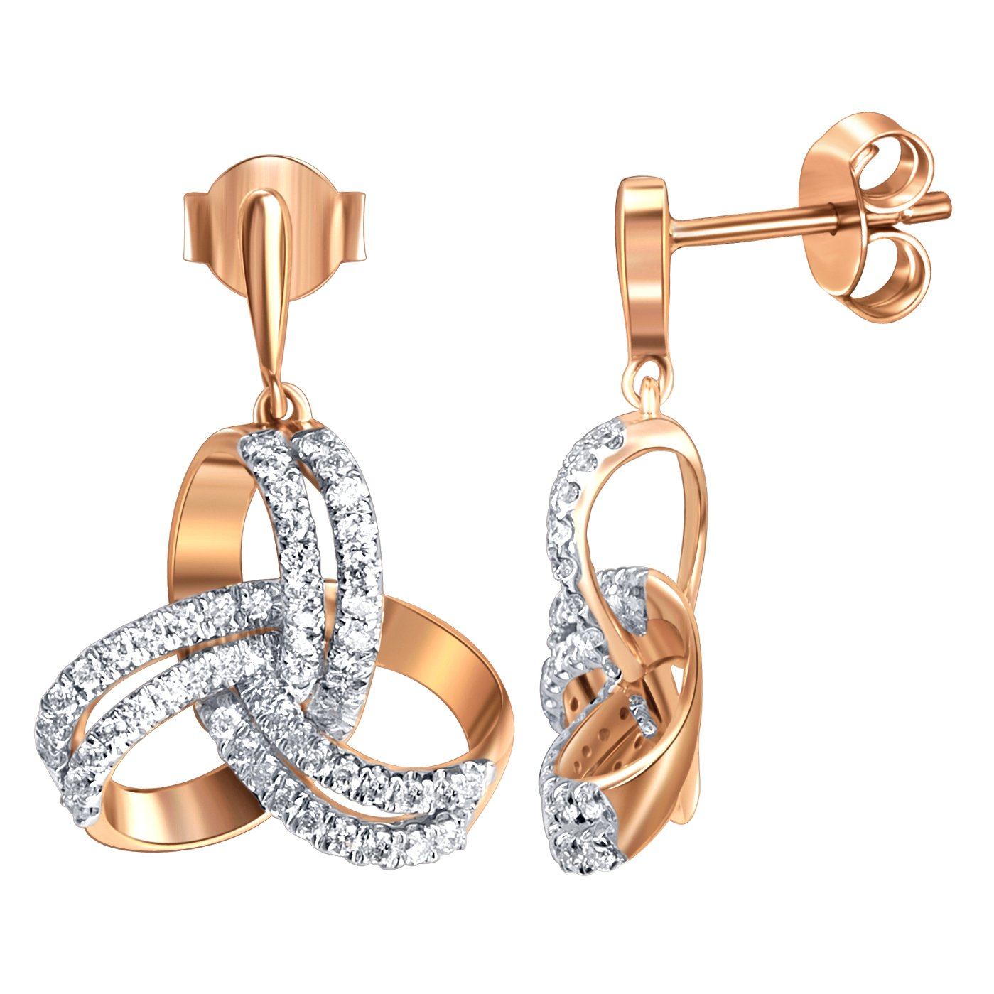 Earrings, Rare, Christmas Gift Jewel Ivy 9K Pink Gold Earring with 0.66 Ct Diamond I2-I3 (GHI) Fine Jewelry, Best For Gifting Wife, Girlfriend, Friend