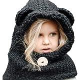 (サクララ)Sakulala ネックウォーマー ニット 帽子 耳付き ベビー キッズ 子供用 小熊 かわいい 防寒 あったかアイテム カジュアル 男女兼用 (黒い)