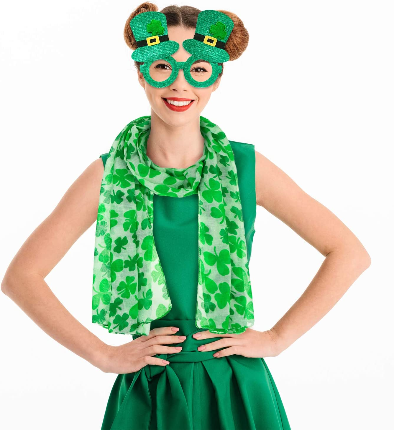 St Patricks Day Costume Accessory Set Include Green Irish Shamrock Scarf and Irish Top Hat Glasses for Irish Party Favors