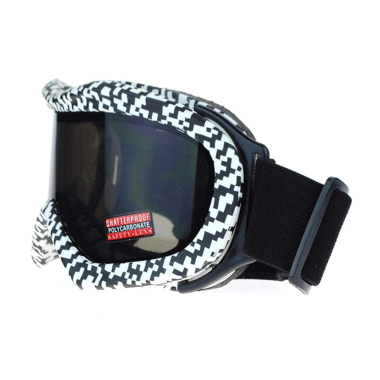 7ccd9314a2fd Amazon.com  Ski Snowboard Goggles Anti Fog Shatter Proof Black Lens Digital  Pixel Print  Clothing