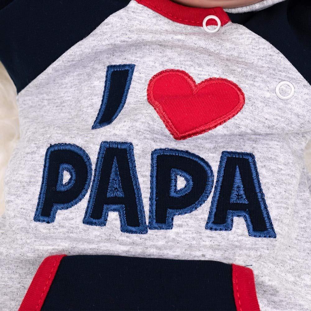 Babystrampler mit Kapuze f/ür Neugeborene /& Kleinkinder Motiv: I Love Papa Baby Sweets Overall Unisex hellgrau Navy rot Gr/ö/ße: 3-6 Monate /… 68