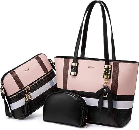 Neu 3er Damentasche Shopper Leder Tasche Handtasche Damentaschen Schultertasche