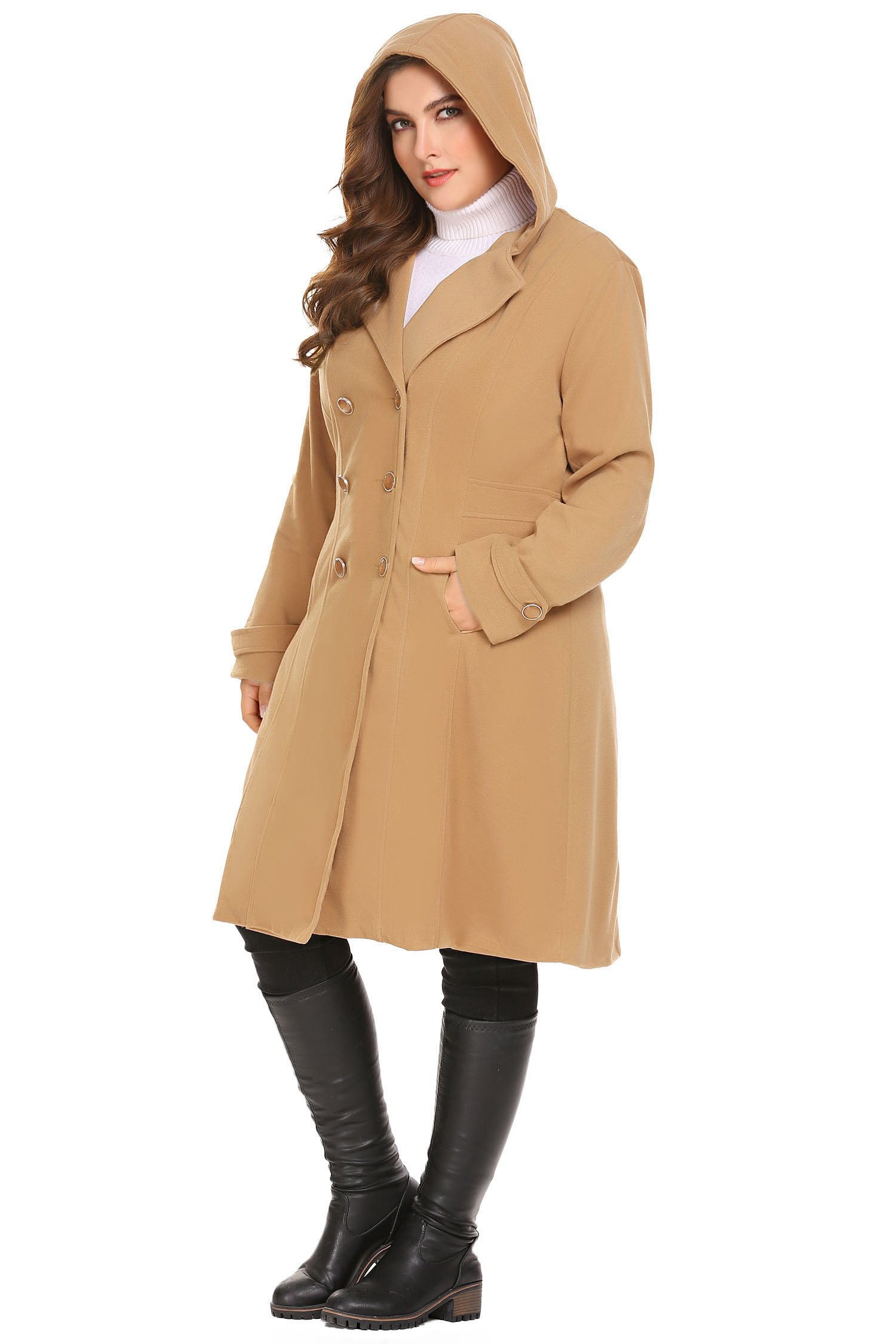 Zeagoo Women Plus Size Double Breasted Wool Elegant Long Lined Lightweight Trench Coat (16W-24W) by Zeagoo (Image #5)
