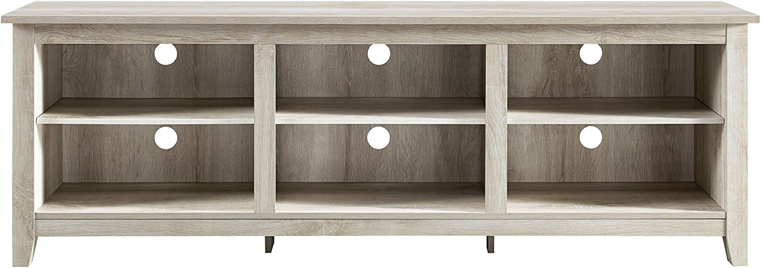 Walker Edison Furniture Company 70 Wood Media TV Stand Storage Console White Oak