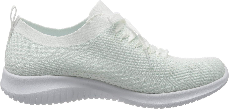 Skechers Damen Ultra Flex Sneaker Weiß Gestrickter Netzbesatz