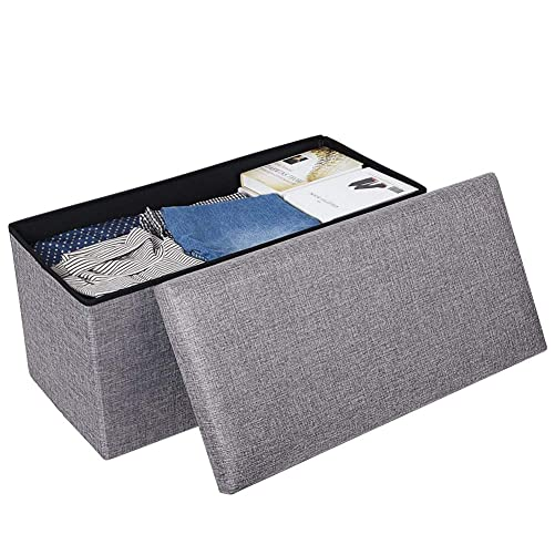 JiatuA Foldable Storage Ottoman Square Cube Foot Rest Stool Seat Folding Seat Bench Footrest Linen Fabric Ottomans Bench Coffee Table Puppy Step for Bedroom, Living Room, Entrance